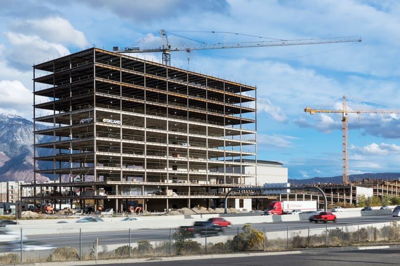 Mountain American Credit Union HQ under construction overlooking busy highway
